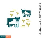 cow on a pasture icon.... | Shutterstock .eps vector #1087857695
