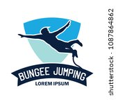 bungee jumping logo with text... | Shutterstock .eps vector #1087864862