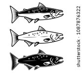 set of salmon icons on white... | Shutterstock .eps vector #1087876322