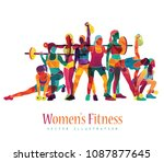 girl sport. girl power. girl... | Shutterstock .eps vector #1087877645