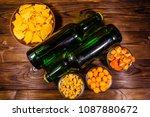 two bottles of beer and... | Shutterstock . vector #1087880672