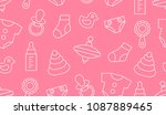 seamless pattern with baby... | Shutterstock .eps vector #1087889465