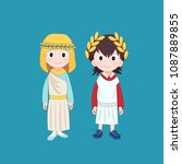 girl and boy wearing ancient... | Shutterstock .eps vector #1087889855