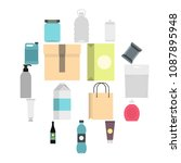 packaging items set icons in... | Shutterstock .eps vector #1087895948