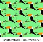seamless toucans pattern.... | Shutterstock .eps vector #1087905872