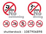 no swimming jumping diving into ... | Shutterstock .eps vector #1087906898