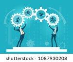 two business men rolling gears... | Shutterstock .eps vector #1087930208