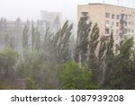Small photo of Downpour and storm wind in city in summer