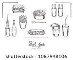 vector illustration. chalk... | Shutterstock .eps vector #1087948106