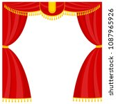 curtains with lambrequins on... | Shutterstock .eps vector #1087965926