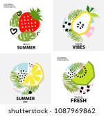 trendy tropic  background with... | Shutterstock .eps vector #1087969862