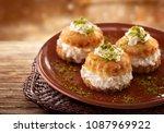 oriental arabic sweet warbat | Shutterstock . vector #1087969922