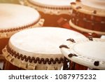 closeup japanese drums... | Shutterstock . vector #1087975232