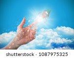 composite image of hand of man... | Shutterstock . vector #1087975325