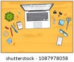 wooden work desk workspace top... | Shutterstock .eps vector #1087978058