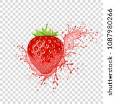 strawberry juice splash.... | Shutterstock .eps vector #1087980266