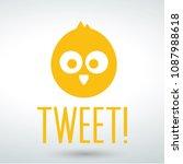 cute little bird tweet cartoon... | Shutterstock .eps vector #1087988618