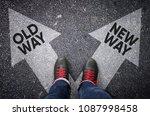 old way versus new way written... | Shutterstock . vector #1087998458