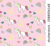 vector pattern with cute... | Shutterstock .eps vector #1088006168