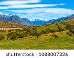 a green valley in new zealand... | Shutterstock . vector #1088007326