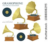 vintage gramophone and vinyl... | Shutterstock .eps vector #1088008295