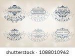 set of vintage frame with...   Shutterstock .eps vector #1088010962