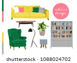 vector interior design... | Shutterstock .eps vector #1088024702