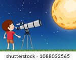 a boy observing the moon... | Shutterstock .eps vector #1088032565