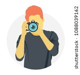 a person holding a camera... | Shutterstock .eps vector #1088039162