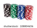 Black, green, blue and red casino chips isolated on white background - stock photo
