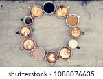 aerial view of various coffee   Shutterstock . vector #1088076635