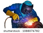 welding arc worker isolated on... | Shutterstock . vector #1088076782