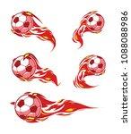 football symbols set. red fire... | Shutterstock .eps vector #1088088986