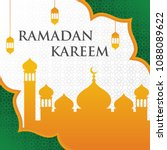 ramadan kareem with mosque and... | Shutterstock .eps vector #1088089622