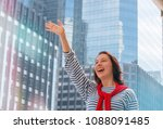 smiling lady is waving hand to... | Shutterstock . vector #1088091485