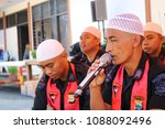 Small photo of MAKASSAR, INDONESIA - MAY 11 2018: South Sulawesi Police Mobile Brigade conducts dhikr and pray together in Makassar, for Indonesian Police who died during riot in Mako Brimob Kelapa Dua prison, Depok