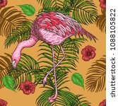 palm leaf with flamingo pattern ... | Shutterstock .eps vector #1088105822