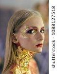 halloween makeup  visage. girl... | Shutterstock . vector #1088127518