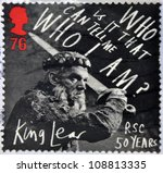Small photo of UNITED KINGDOM - CIRCA 2011: a stamp printed in Great Britain shows a scene of the movie King Lear, in his 50 years in the story written by William Shakespeare, circa 2011