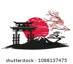 card with asian landscape | Shutterstock .eps vector #1088137475