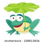 Green Frog Holding Leaf...