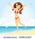 Cute Girl Jumping On Sunny Beach