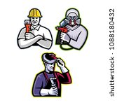 mascot icon illustration set of ... | Shutterstock .eps vector #1088180432
