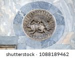 Small photo of VENICE, ITALY - MAY 28, 2017 : Victory of immortality (peacock) over lust and lasciviousness (hare) symbology depicted in a byzantine relief, basilica of St Mark's, Piazza San Marco, Venice, Italy.