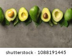 composition with ripe avocados... | Shutterstock . vector #1088191445