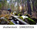 hiker in with big backpack...   Shutterstock . vector #1088205326