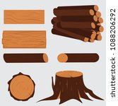 tree lumber. wooden trunk stump ... | Shutterstock .eps vector #1088206292