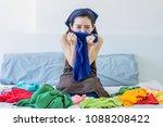 depressed attractive young... | Shutterstock . vector #1088208422
