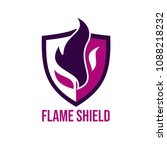 fire flame with shield logo...