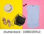 female wardrobe. blue top ... | Shutterstock . vector #1088220512